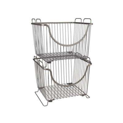 Ashley 12.625 in. W x 11 in. D x 10.75 in. H Large Stacking Basket in Satin Nickel PC