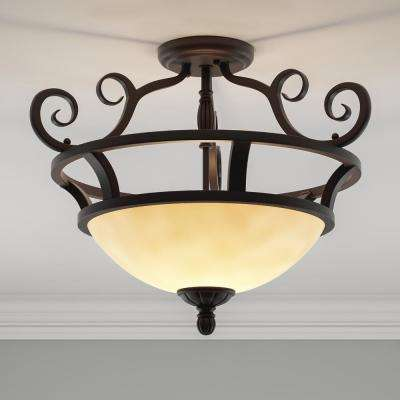Manor 2-Light Oil-Rubbed Bronze Semi-Flush Mount Light