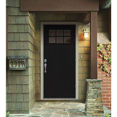 34 in. x 80 in. 6 Lite Craftsman Black Painted Steel Prehung Left-Hand Outswing Front Door w/Brickmould