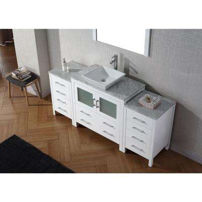 Dior 67 in. W Bath Vanity in White with Marble Vanity Top in White with Square Basin and Mirror and Faucet