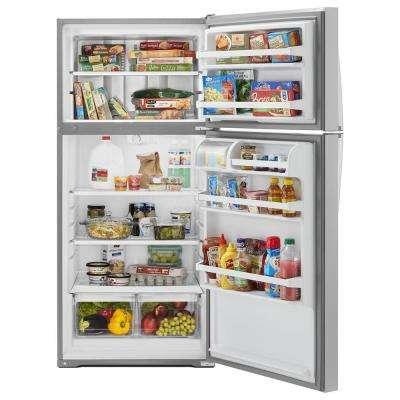 14 cu. ft. Top Freezer Refrigerator in Monochromatic Stainless Steel