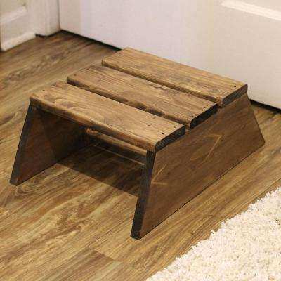 Unfinished Wood Decor Slatted Stool