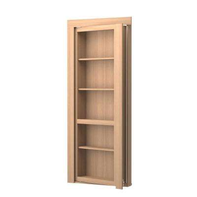Assembled Flush Mount Oak Natural Stained Interior Single Prehung Bookcase Door