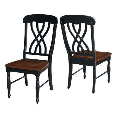 Pair of Latticeback Chairs in Aged Ebony and Espresso