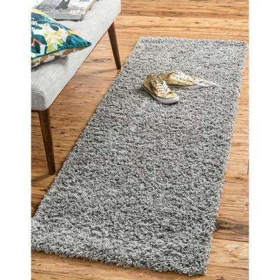 Solid Shag Cloud Gray 20 ft. Runner Rug