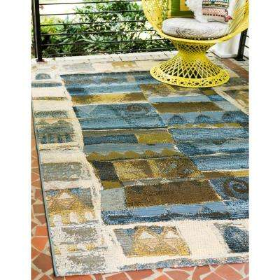 Outdoor Glyph Blue 5' 3 x 8' 0 Area Rug