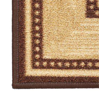 Ottohome Collection Contemporary Bordered Design Brown 2 ft. x 7 ft. Non-Skid Runner Rug