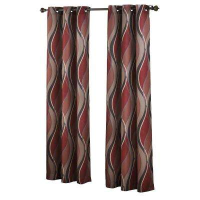 No. 918 Casual Intersect Printed Grommet Top Curtain Panel
