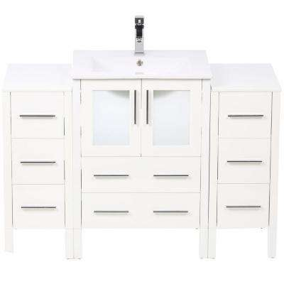 Torino 48 in. Vanity in White with Ceramic Vanity Top in White with White Basin and Mirror with 2 Side Cabinets