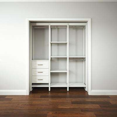 "Closet Storage 16.75""D x 68.5""W x 84""H White Wood & Aluminum Customizable Decorative Storage Organizer Closet System"