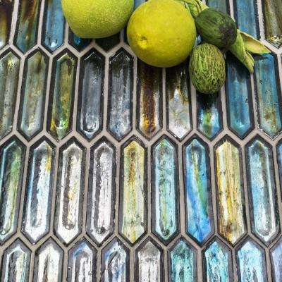 Fargin Tropical Lagoon Elongated Hexagon 12 in. x 10 in. x 7mm Polished Glass Mosaic Tile (0.82 sq. ft.)