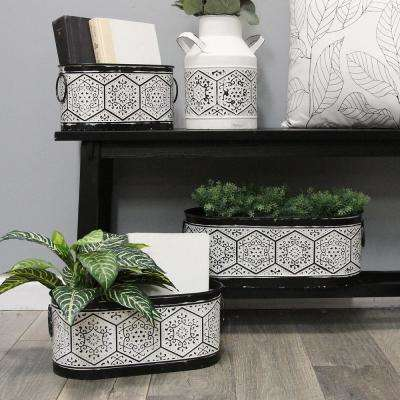 Black and White Planters (Set of 3)
