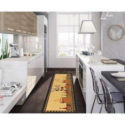 Siesta Kitchen Collection Chef Design Beige 1 ft. 8 in. x 4 ft. 11 in. Runner