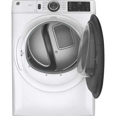 7.8 cu. ft. Smart 240 Volt White Stackable Electric Vented Dryer with Long Vent and Sanitize Cycle, ENERGY STAR