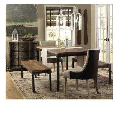 Becca Brown Linen & Leather Dining Chair