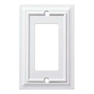Architectural 1-Gang Rocker/GFCI Outlet Wall Plate - White