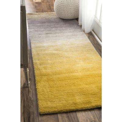 Ombre Shag Yellow 2 ft. 6 in. x 6 ft. Runner Rug