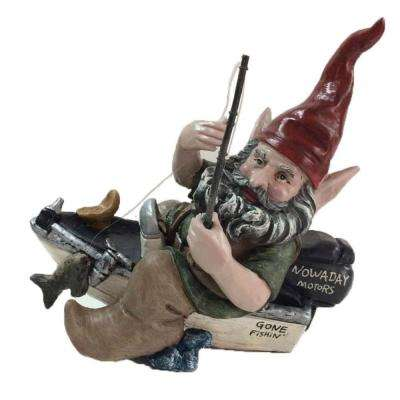 12 in. Fisherman Gnome Holding Fishing Line in Bass Boat Collectible Statue