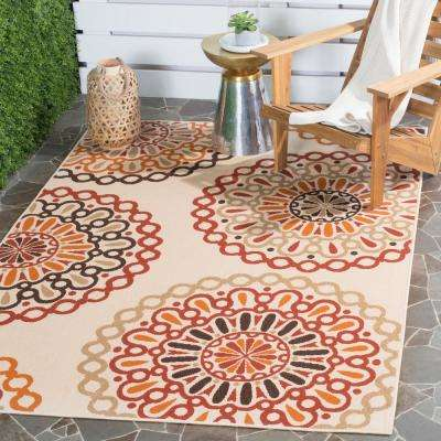 Veranda Creme/Red 7 ft. x 10 ft. Indoor/Outdoor Area Rug