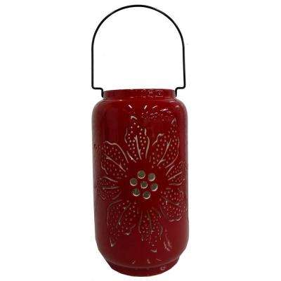 12 in. Candle Holder with Poinsettia Design
