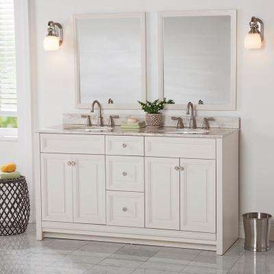 Brinkhill 61 in. W x 22 in. D Bathroom Vanity in Cream with Stone Effect Vanity Top in Winter Mist with White Sink