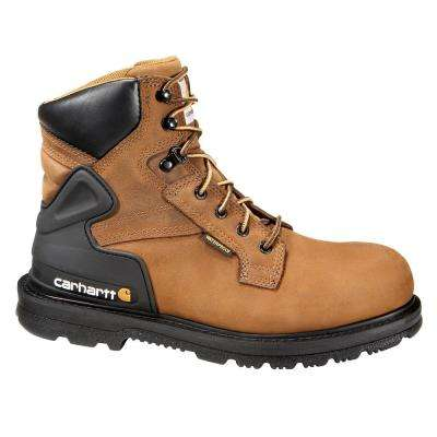 Core Men's Bison Brown Leather Waterproof Steel Safety Toe Lace-up Work Boot