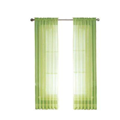Sheer Elegance 84 in. L Rod Pocket Curtain Panel Pair, Lime (Set of 2)