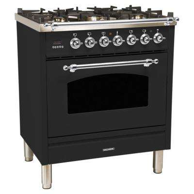 30 in. 3.0 cu. ft. Single Oven Italian Gas Range with True Convection, 5 Burners, Chrome Trim in Matte Graphite