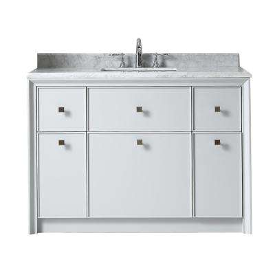 Parrish 48 in. W x 22 in. D Vanity in Dove Grey with Marble Top in Grey/White with White Basin