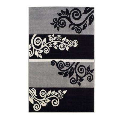Capri Collection Black and Grey 4 ft. 3 in. x 7 ft. 3 in. Indoor Area Rug