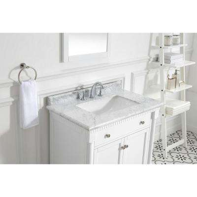 Claudia 36 in. W x 22 in. D Vanity in Pure White with Marble Vanity Top in Carrara with White Basin