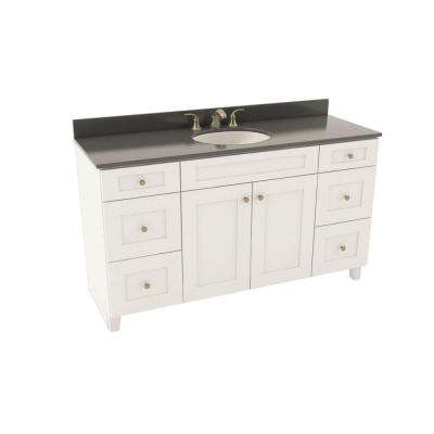 Reading 61 in. Vanity in Linen with Silestone Quartz Vanity Top in Marengo and Oval White Sink