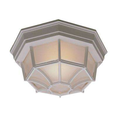Outdoor Essentials 1-Light Outdoor Flush Mount Matte White Ceiling Fixture