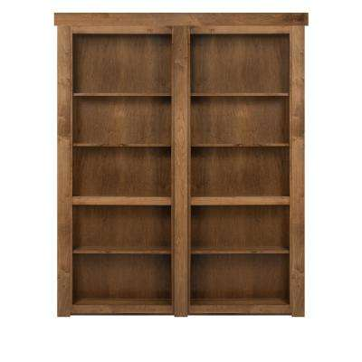 48 in. x 80 in. Flush Mount Assembled Maple Medium Stained Out-Swing Solid Core Interior French Bookcase Door