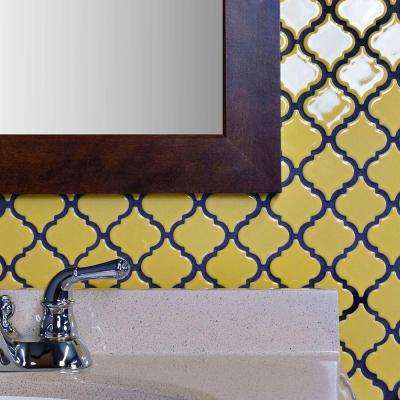 Hudson Tangier Vintage Yellow 12-3/8 in. x 12-1/2 in. x 5 mm Porcelain Mosaic Tile
