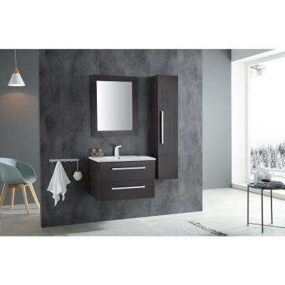 Conques 30 in. W x 20 in. H Bath Vanity in Rich Umber with Ceramic Vanity Top in White with White Basin and Mirror
