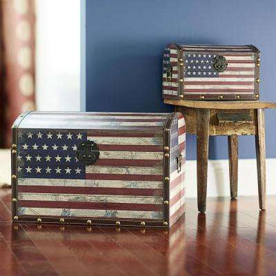 19 in x 13.4 in. American Flag Decorated Storage Trunks With Dome Lid - Large and Small Trunk (Set of 2)