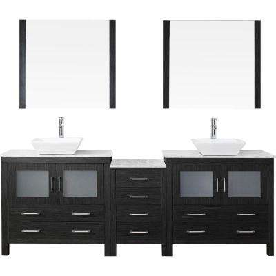 Dior 78 in. W x 18.3 in. D Vanity in Zebra Grey with Marble Vanity Top in White with White Basin and Mirror