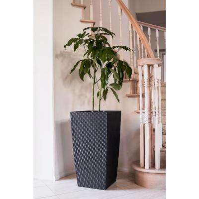 Xbrand 30 in. Tall Black Nested Rattan Self Watering Indoor/Outdoor Square Planter Pot (Set of 2)