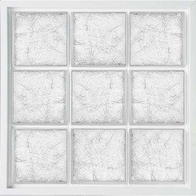 39 in. x 39 in. Glass Block Fixed Vinyl Windows Ice Pattern Glass - White