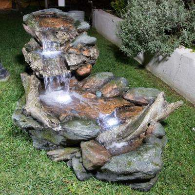 60 in. Long Outdoor 3-Tier Rainforest Rock River Water Fountain with LED Lights