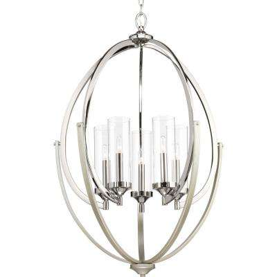 Evoke Collection 5 -Light Polished Nickel Chandelier with Clear Glass Shade