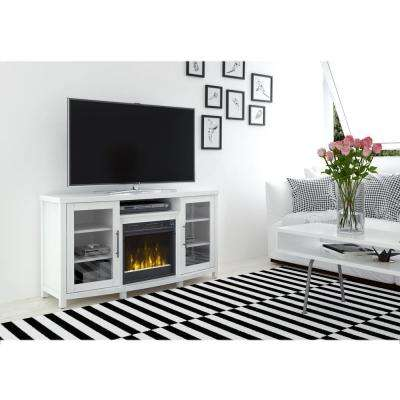 Rossville 54 in. Media Console Electric Fireplace in White