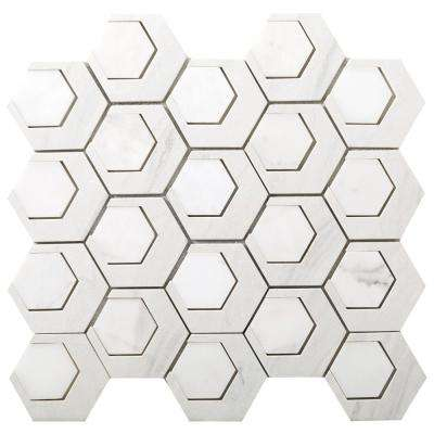 Catalyst Hydrogen 12.6 in. x 13.62 in. x 8 mm Cast Stone Mesh-Mounted Mosaic Tile