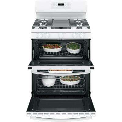 6.8 cu. ft. Double Oven Gas Range with Self-Cleaning and Convection Lower Oven in White