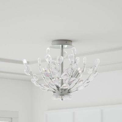 Hetcherson 20 in. 4-Light Chrome Semi Flush Mount with Crystal Glass Branches