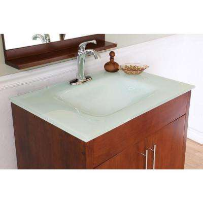 Oslo W 33 in. Single Vanity in Walnut with Glass Vanity Top in Aqua