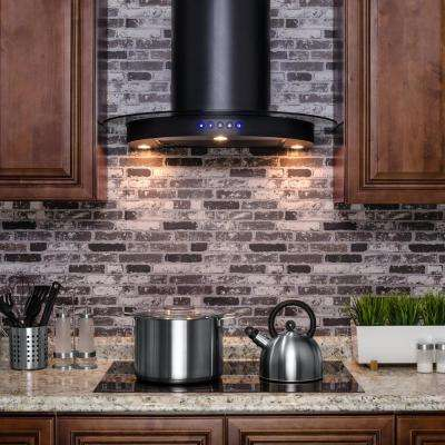 30 in. Convertible Kitchen Wall Mount Range Hood in Black with Tempered Glass