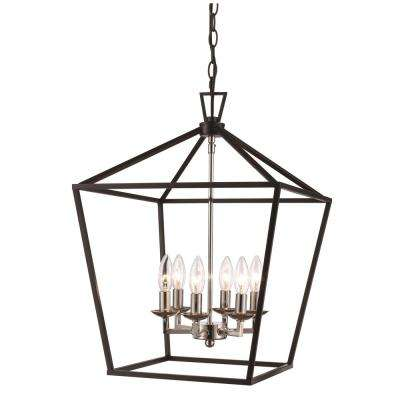 Lacey 6-Light Black and Brushed Nickel Pendant