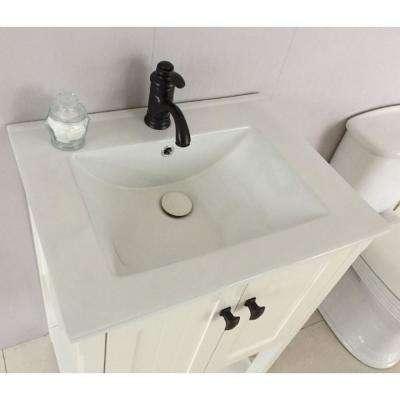 Redondo 24 in. W x 18 in. D x 36 in. H Single Vanity in White with Ceramic Vanity Top in White with White Basin